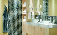 with white subway tile or neutral glass tile