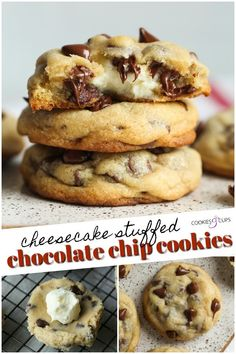 Cheesecake Stuffed Cookies are soft, buttery chocolate chip cookies filled with a thick, creamy layer of cheesecake for a two-in-one sweet treat! Creamy cheesecake fills these thick chocolate chip cookies for the ultimate cookie treat! Buttery Chocolate Chip Cookies, Chocolate Chip Cookie Cheesecake, Chocolate Chip Oatmeal, Ultimate Chocolate Chip Cookies Recipe, Cheesecake Bites, Chocolate Chip Recipes, Cheesecake Recipes, Chocolate Chips, Filled Cookies