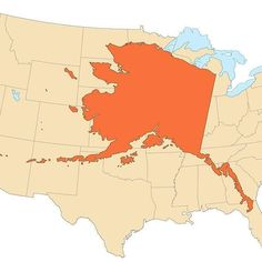 The State Of Alaska Compared To The Lower 48 States Map Maps