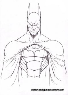 Batman Drawings | batman line art by osmar shotgun fan art traditional art drawings ...