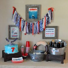 Awesome dessert table at a Jaws Shark birthday party! See more party planning ideas at CatchMyParty.com!