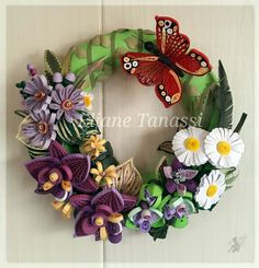 Summer Wreath with Quilled Orchids and Daisies ~ July 2016 by ♧ The Quilling Fairies ♧ (https://m.facebook.com/thequillingfairies)