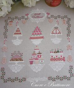 Stitch Count 245 x 267    A pattern in which the protagonists are cakes and cookies interpreted in Christmas style. The pattern includes the
