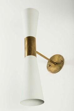 Anonymous; Enameled Metal and Brass Wall Light by Arredoluce, c1960.
