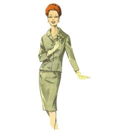 60s Slim Suit Pattern B44 by willynillyart on Etsy, $14.00