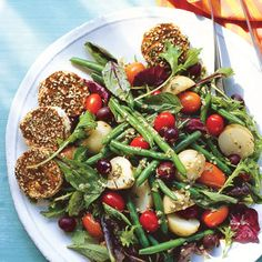 Farmers' Market Salad with Spiced Goat Cheese Rounds by bonappetit: All the goodness of summer! #Salad #Farmers_Market