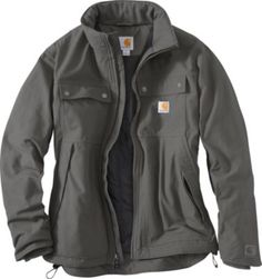 """The Carhartt Quick Duck Jefferson Traditional Jackets rugged nylon lining boasts 80-gram 3M™ Thinsulate™ Insulation in both the sleeves and body for all-day warmth that outlasts Mother Nature's worst. Heavy-duty 60/40 cotton/polyester-canvas construction with Rain Defender™ durable water-repellent finish that   seals out moisture and stands up to years of heavy outdoor use. Imported.  Center back length:  28.5"""".  Sizes:  S-3XL.  Colors:  Canyon Brown, Dark Coffee, ..."""