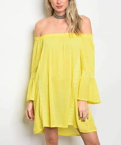 1b20a36a248e I love the color of this dress. Yellow Lace-Accent Bell-Sleeve Off