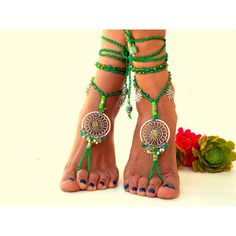 Green, Barefoot Sandals, Barefoot Beach Jewelry, gemstones Hippie... ($43) ❤ liked on Polyvore featuring shoes, sandals, bohemian sandals, boho sandals, thong sandals, beach anklet and yoga shoes