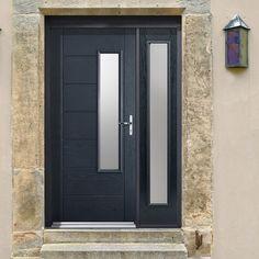GRP Grey Newbury Glazed Composite Door with Single Sidelight. #doorwithscreen #compositedoor #frontdoor