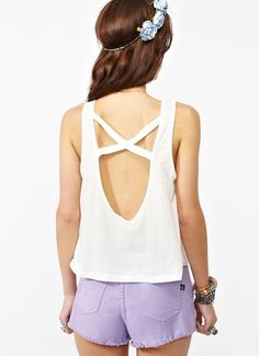 White string backless top with Purple shorts