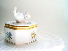 Herend Trinket Box Hungarian Porcelain Jewelry by vintagebiffann