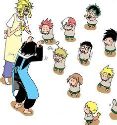 Boku no Hero Academia // Aizawa Shouta uwu - LOL, all their personalities come out. Deku copying All might instead. Boku No Hero Academia, My Hero Academia Memes, Hero Academia Characters, My Hero Academia Manga, Chibi, Comic Anime, Aizawa Shouta, Fanarts Anime, Funny Memes