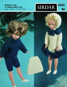 Items similar to PDF Vintage Christmas Doll Sindy Barbie Doll Clothes Knitting Pattern, Sirdar 2455 LOOPY Swing Coat Pixie Hood Skirt Fashion Doll on Etsy Barbie Knitting Patterns, Knitting Dolls Clothes, Knitted Dolls, Doll Clothes Patterns, Doll Patterns, Vintage Patterns, Crochet Patterns, Knitting Ideas, Sindy Doll