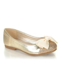 Jelly Beans Gold Sparkle Bow Miro Flat | Something special every day