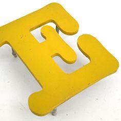 Metal Letter E Yellow