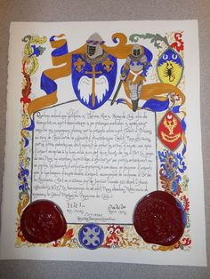 SCA Knighting scroll for Davi d'Orleans in the Kingdom of Caid. Made by Flavia Beatrice Carmigniani (Bjo Trimble of Griffin Dyeworks)