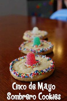 CINCO DE MAYO / MY BIRTHDAY COOKIES - SOMBRERO HATS!  I think making these with my classes on my birthday would be the best ever.  I can make it relate to history somehow...