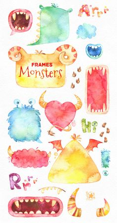 Funny Monsters Frames. Watercolor clip art by StarJamforKids