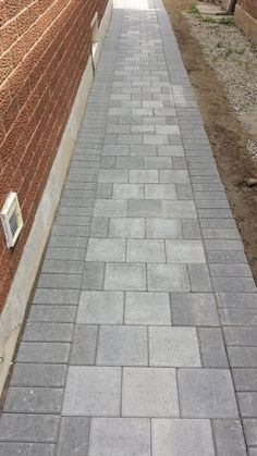 See our gallery of completed interlocking and concrete projects: driveways, driv. See our gallery Front Walkway Landscaping, Brick Paver Driveway, Front Yard Walkway, Backyard Walkway, Concrete Walkway, Paver Walkway, Backyard Plan, Backyard Landscaping, Rock Driveway