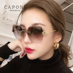 CAPONI Luxury Design Sunglasses Women Frameless Oversize 2020 Sun Glasses Cutting Lens Fashion Lady Eyewear Accessories CP31264 #2020 Sun Glasses Women's Sunglasses, Eyewear, Lens, Lifestyle, Luxury, Womens Fashion, Stuff To Buy, Accessories, Design