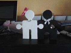 Figura de pareja de novios,con forma de puzzle para el dia de tu boda, para muñecos de la tarta o detalle para los invitados.  Tamaño,decoracion al gusto