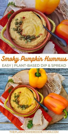 Take a classic chickpea tahini hummus and give it a smoky, pumpkin flavor and golden-orange color in no time with this Smoky Pumpkin Hummus. Easy Hummus Recipe, Pumpkin Hummus, Whole Wheat Pita, Vegan Recipes Easy, Vegan Meals, Create A Recipe, Vegan Burgers, Vegan Hummus, Raw Vegetables