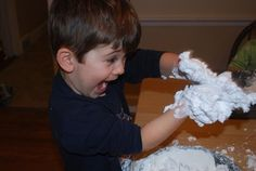 DIY Snowballs ~ cornstarch & shaving cream; it may be messy, but faces like this make clean-up worth it