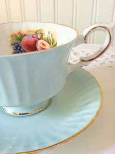 Vintage Royal Standard Fine Bone China Chateau Blue Tea Cup and Saucer/Cottage Style/Tea Party