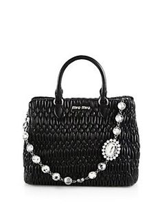 Miu Miu - Nappa Crystal Quilted Leather Tote