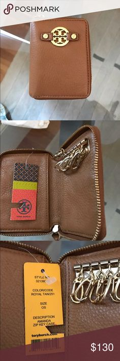 Tory Burch key wallet brown Brand new with tags, Amanda style. Never been used and no longer in stores. Can fit 6 keys Tory Burch Accessories Key & Card Holders