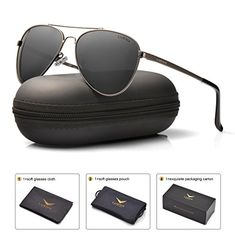 24103933f8 us   LUENX Men Women Aviator Sunglasses Polarized Non-Mirror Black Lens  Black Metal Frame with Accessories UV 400 Protection   Sunglasses   Eyewear