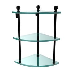Allied Brass 8 in. L x 15 in. H x 8 in. W Corner Clear Glass Bathroom Shelf in Oil Rubbed Bronze Glass Corner Shelves, Glass Shelves In Bathroom, Wall Shelves, Shelving, Corner Shelf, Bathroom Storage, Bathroom Interior, Storage Cabinet With Drawers, Glass Vanity