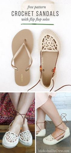 Upgrade your summer style with these boho crochet sandals with flip flop soles! Cheap flip flops and one ball of yarn is all you need for this free pattern. Crochet Simple, Crochet Diy, Crochet Boots, Crochet Slippers, Love Crochet, Crochet Crafts, Crochet Clothes, Crochet Summer, Crochet Eyes