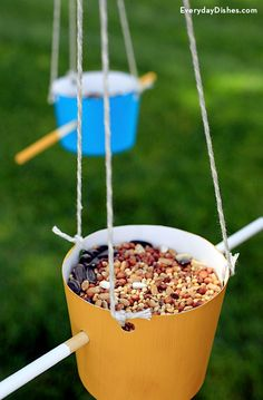 Homemade bird feeders not only spruce up the backyard—they also invite your feathered friends to come and play. It's a great weekend activity for the kids and the best part is that the mess stays where it should—outside!