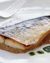 Christophe Emé pan-fries fish until the skin is beautifully crisp, then serves it alongside a trio of deeply flavored sauces. Plus: More Seafood R. Spanish Mackeral Recipe, Mackeral Recipes, Surimi Recipes, Endive Recipes, Sauce Recipes, Wine Recipes, Seafood Recipes, Pesto, Spanish Mackerel