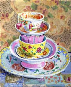 stack of china, kaffe fassett - Kaffe is a painter, too.
