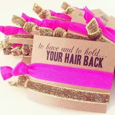Hair Tie Bachelorette Favor // Hot Pink + Gold Glitter Elastic Hair Tie Bracelets, Hair Tie Bracelet Favor, Custom Bachelorette Party Favor