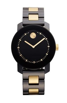 Movado 'Bold' Two Tone Ceramic Bracelet Watch, 36mm available at #Nordstrom