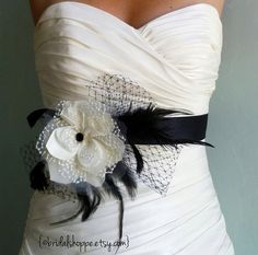 Bridal Sash Belt Black and Ivory Lace