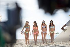 Girls Gone Swimming - Canice Swanepoel, Alessandra Ambrosio, Behati Prinsloo, and Lily Aldridge.  Behind the scenes of the @victoriassecret Swim Special which filmed in Puerto Rico. Did you catch that great volleyball match at Palomino Island?