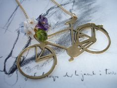 Spring Ride Vintage Brass Bike Charm Handcut by kalypsocreations, $46.00