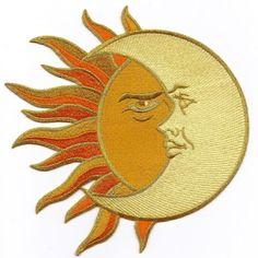 Sun Moon Orange Copper Cream w Gold LG Iron on Applique Astrology   eBay