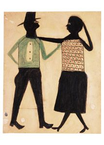 Untitled, ca. 1939–1942 The nature of the interactions between Traylor's figures is often open to interpretation. In this drawing, for example, the couple could be either brawling or dancing. The repeated triangular shapes formed by their limbs unify the composition and lead the eye to see them as a single unit, forever locked together in their encounter. Time seems to stop in Traylor's drawings, as though he were able to freeze motion through his skillful depiction of human gestures.