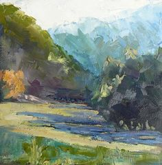 """Small Oil Landscape, 6x6 Mountain Landscape, Daily Painting """"Long ..."""