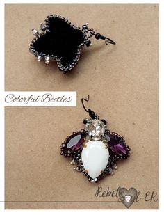 bug earrings seed bead embroidery RebelSoulEK jewelry