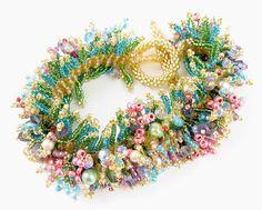 Beads East Spring Beaded Bracelet Kit by Ann Benson Beaded Bracelet Patterns, Woven Bracelets, Seed Bead Bracelets, Seed Bead Jewelry, Bead Jewellery, Beading Patterns, Seed Beads, Bead Earrings, Bracelets