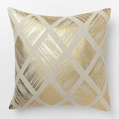 Metallic Diamond Pillow Cover – Gold