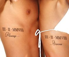 matching couple tattoos | Couple with Matching Date Tattoo for Couples on Ribs