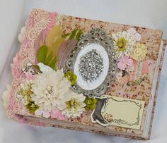 Prima Debutante Mini Album~Terry Nelson.Items from Reneabouquets.com and the Reneabouquets Etsy: Romantic Trinkets,Shabby Sweet Metal Scissors,  Vintage Radiance Rhinestone Brooch,Shabby Dream Pink Lace, Dainty Champagne Lace, Sweet Pea Glitter Glass Butterflies, Chiffon Flowers Ivory & Soft pink, So Shabby Ivory Chiffon Large Flower Prima Debutante Chipboard And More, Prima  Metal Clock Faces, Prima Debutante  Wood Icons, http://www.Reneabouquets.com https://www.etsy.com/shop/Reneabouquets
